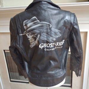 Vtg Wilson Black Leather Biker Jacket Skull